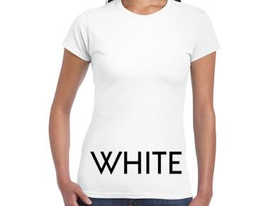 WHITE Custom Printed Ladies Cut T-shirts