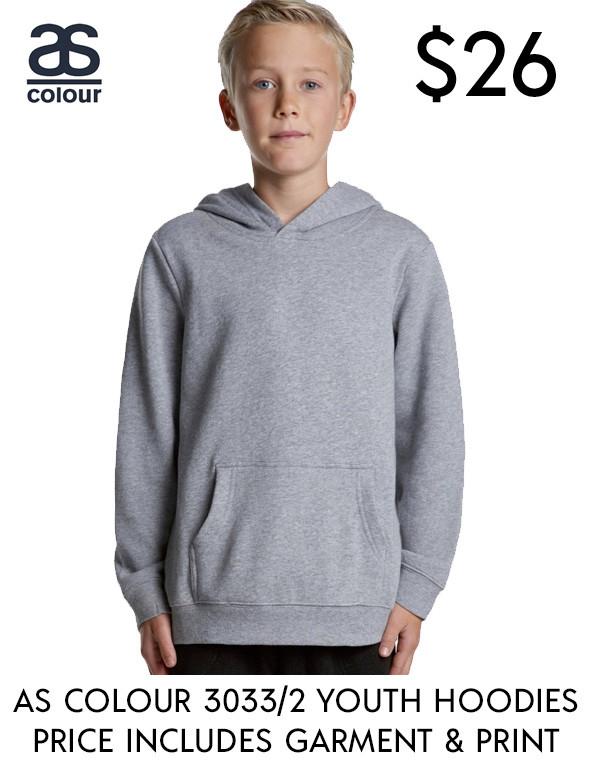 AS Colour 3033 best value custom printed Youth Hoodies in Australia!