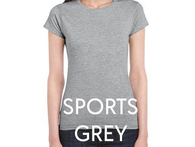 SPORTS GREY Custom Printed Ladies Cut T-shirts