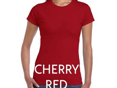 CHERRY RED Custom Printed Ladies Cut T-shirts