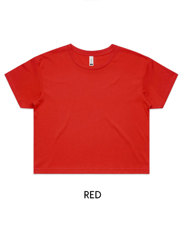 Red - Printed AS Colour Women's Crop Tee