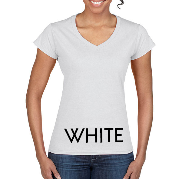WHITE 64V00L Ladies V-NECK