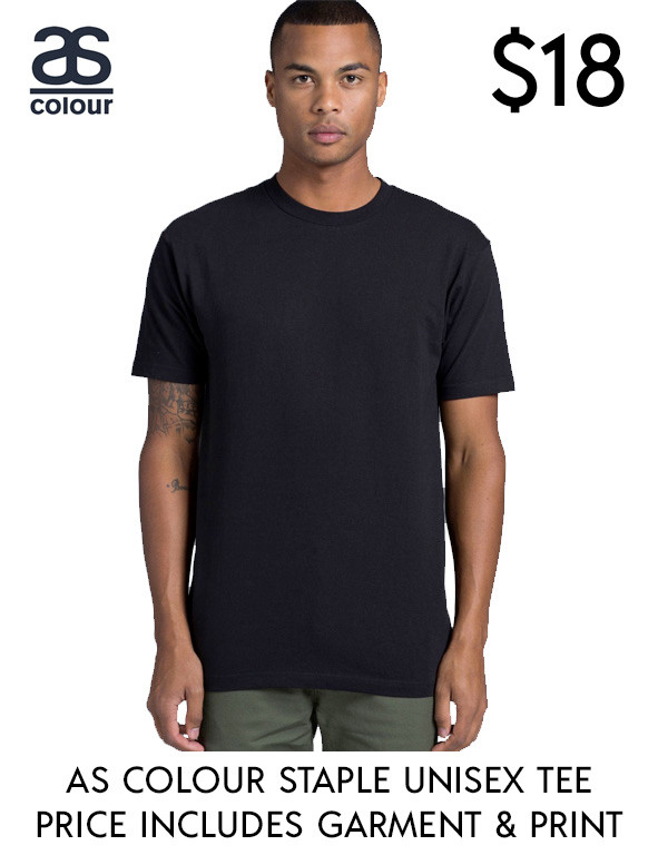 AS Colour 5001 best value custom printed Staple Unisex T-Shirts in Australia!