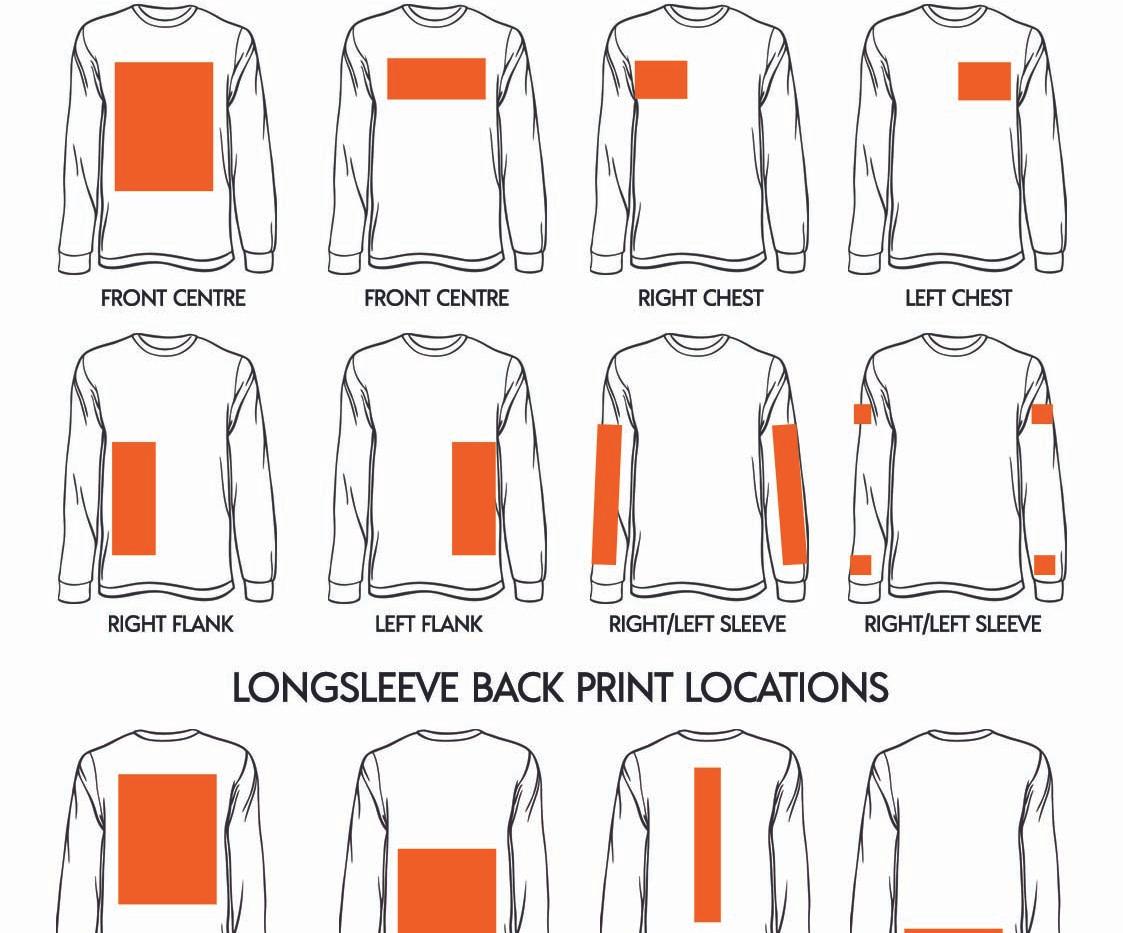Where to print on a longsleeve t-shirt