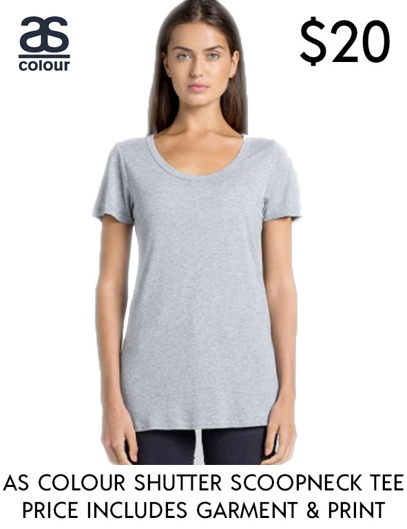 AS Colour 4011s best value custom printed Ladies Shutter Scoop-Neck T-shirts in Australia!