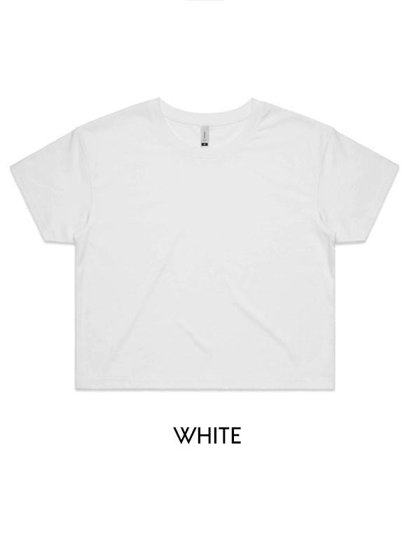 White- Printed AS Colour Women's Crop Tee