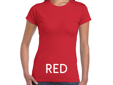 RED Custom Printed Ladies Cut T-shirts