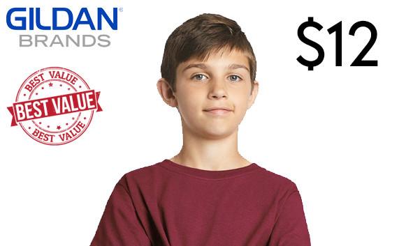 5000B Gildan best value custom printed Youth T-shirts in Australia!