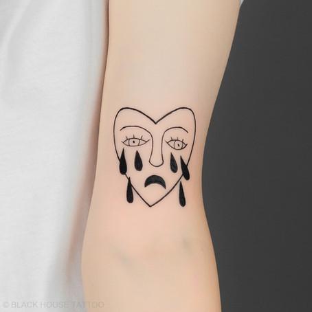 Brečící srdce tetování / Crying heart tattoo