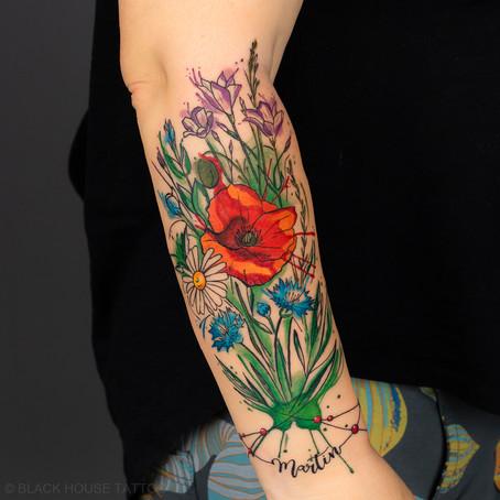 Tetování květin / Beautiful flowers tattoo.