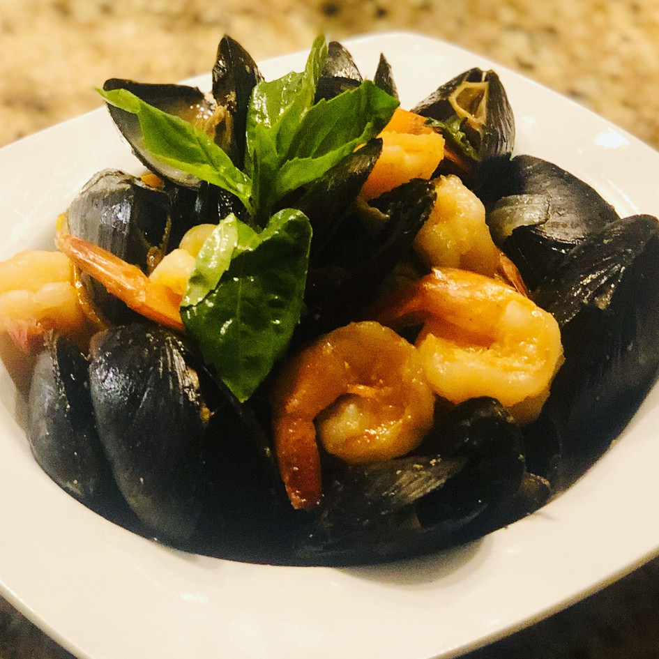 Thai Basil Mussel and Shrimp Stir Fry