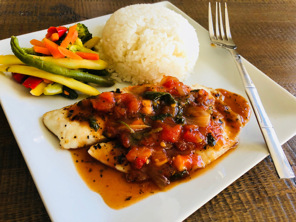 Baked Tilapia Fillets with Asian- Style Tomato Basil Sauce