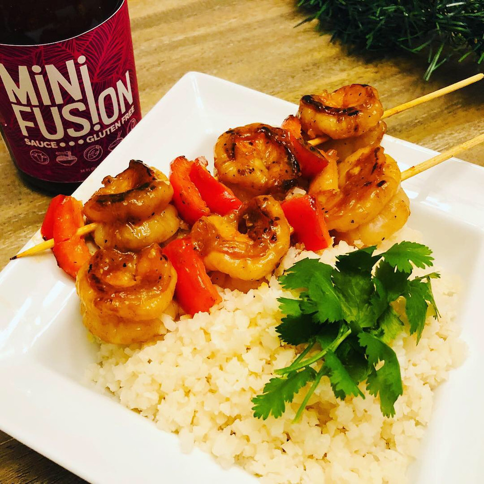 Gluten-Free Shrimp Skewers with Cauliflower Rice