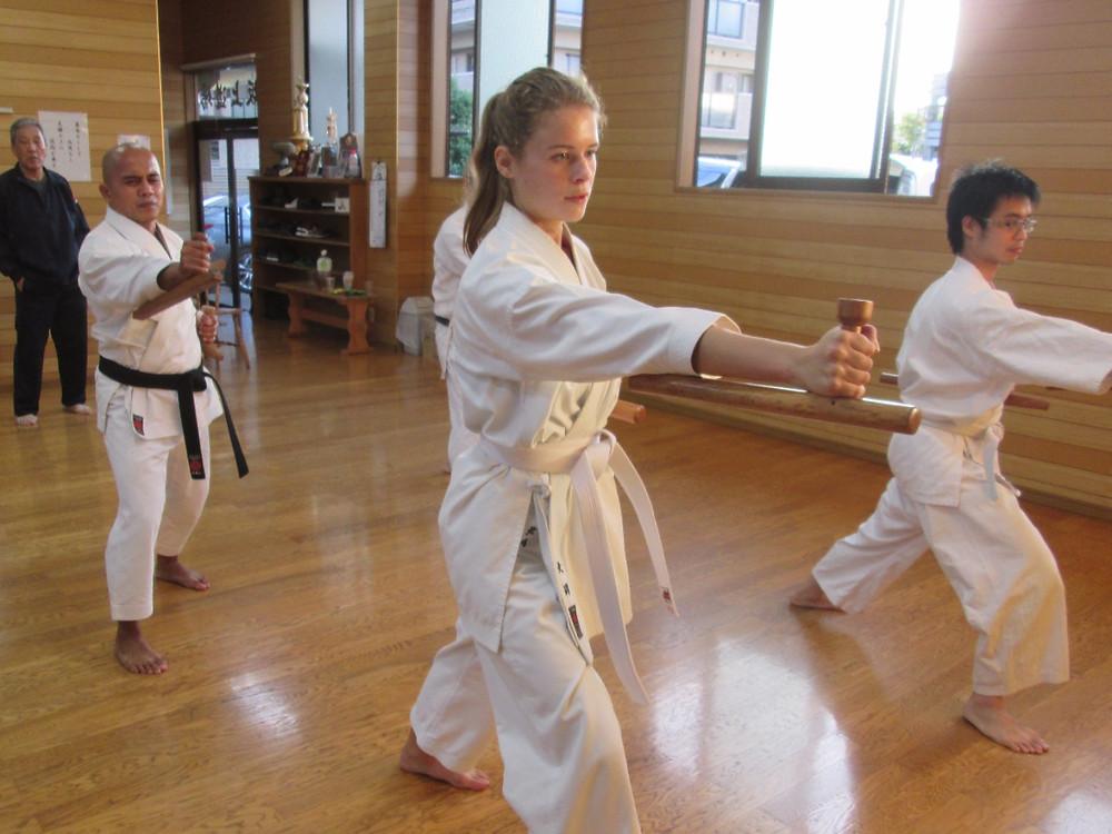 Practicing Tonfa Kata, Ryukyu Kobudo Kongo-ryu
