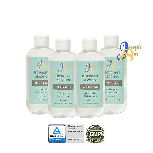 JosephSan Isopropyl Alcohol (70% Solution) with Distilled Water [4-Pack]