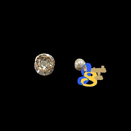 Unique Zircon Diamond & Pearl Ear Studs