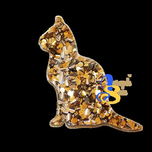 Kookie Cat Brooch - Premium Glitter Acrylic
