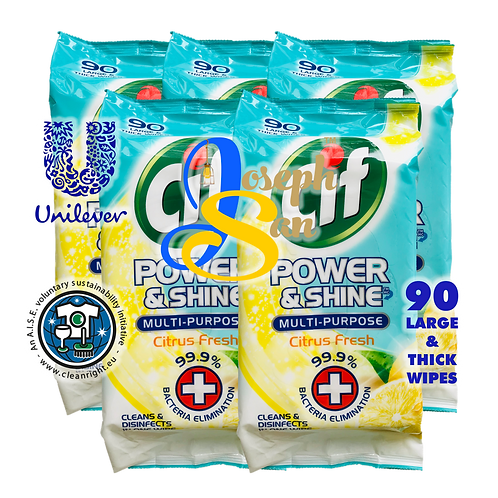 Cif Power & Shine Multi-Purpose Citrus Fresh  Wet Wipes [5-Pack]