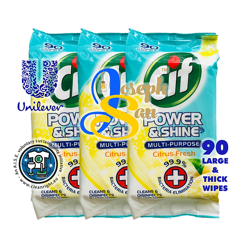 Cif Power & Shine Multi-Purpose Citrus Fresh  Wet Wipes [3-Pack]