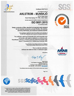 AHLSTROM  MUNSKJÖ ISO 9001-2015 (2018)-