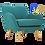 Thumbnail: WAGON 1 Seater Sofa Nile Green