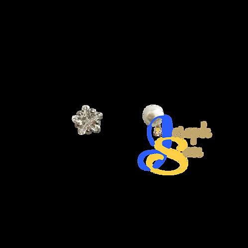 Star Zircon & Pearl Ear Studs