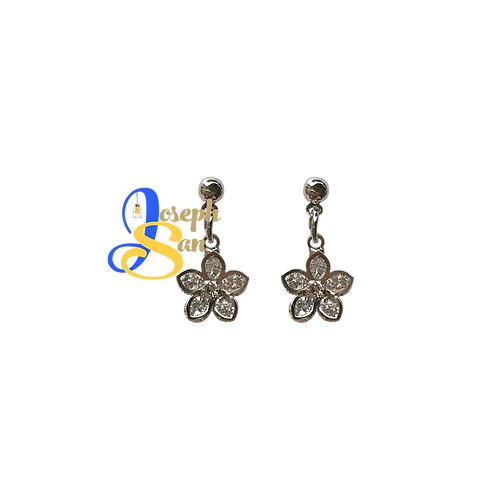 Precious Zircon Flower Dangling Earrings