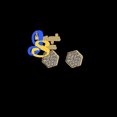Hexagon Zircon Glitter Ear Studs