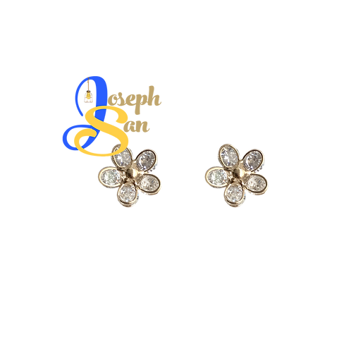 Dainty Zircon Flower Ear Studs