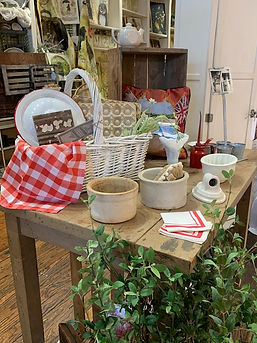 pretty display with egg crate and crocks