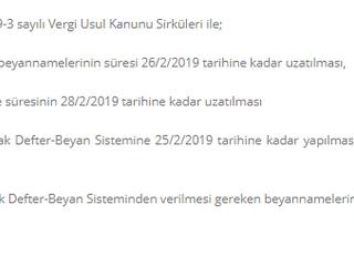 2019/Ocak dönemine ilişkin olarak Defter-Beyan Sistemine 25/2/2019 tarihine kadar yapılması gereken