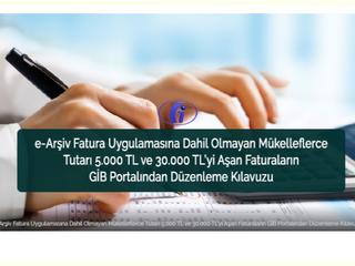 e-Arşiv Fatura Uygulamasına Dahil Olmayan Mükelleflerce Tutarı 5.000 TL ve 30.000 TL'yi Aşan Fatural