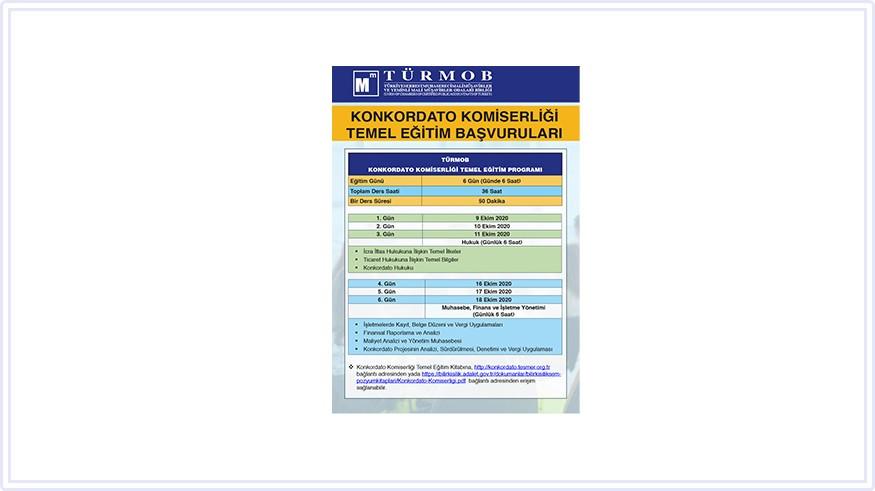 Konkordato Komiserliği Temel Eğitim Başvuruları