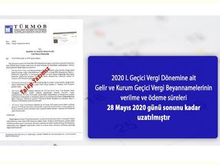2020 I. Geçici Vergi Dönemine ait Gelir ve Kurum Geçici Vergi Beyannamelerinin verilme ve ödeme süre