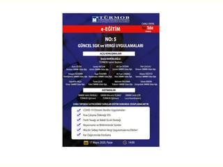 """e-EğitimNo: 5""""Güncel Vergi ve SGK Uygulamaları"""" konulu seminerimizi, TÜRMOB youtube kanalı üzerind"""