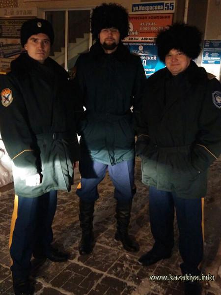 Подъесаул Алексеев, хорунжий Карпов и старший урядник Пробатов на страже безопасности родного города