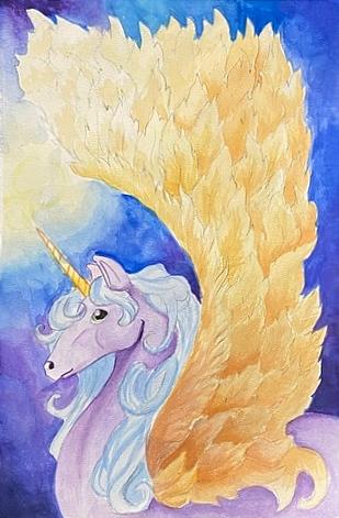 Winged Unicorn in the Night
