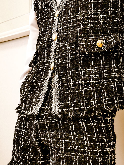 Black-Silver Tweed Vest