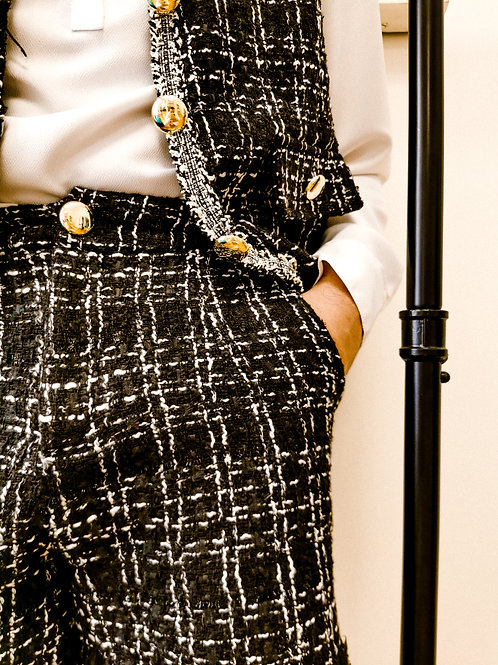 Black-Silver Tweed Shorts