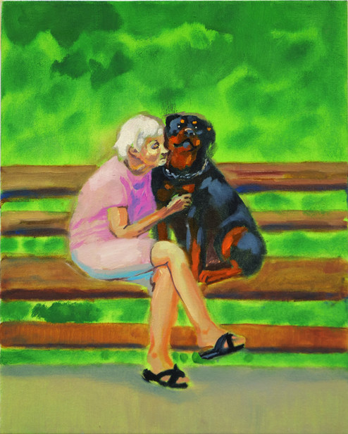 Old Lady with a Rottweiler