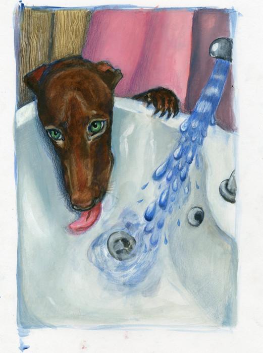 Thirsty Princess,35x25 cm, acrylic and c