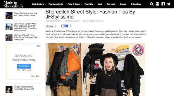 Made In Shoreditch Magazine x Jasmine Furelid