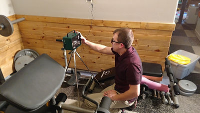 Setting the radon test in the lower level of a home.