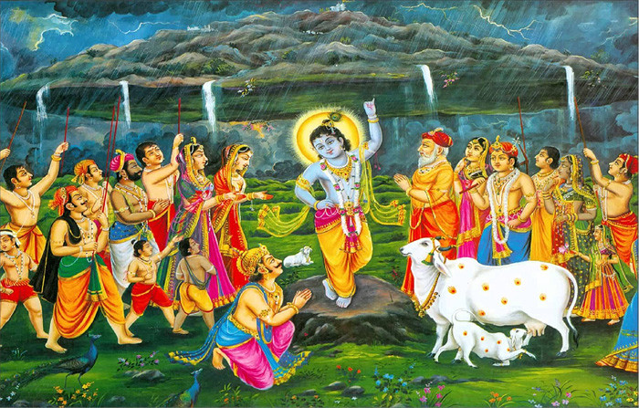 lifted an entire mountain with his left little finger or pinky in order to save people from rains and thunderstorm (that was caused by Indra). In that way, he taught that he is the ultimate refugee and superior to even king of gods.