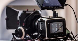 Videographer on video shoot
