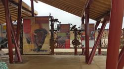 Interpretive panels inside of the pavilion