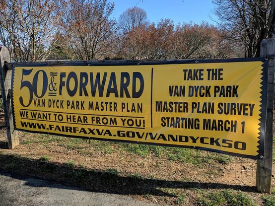 Van Dyck Park Master Plan 50 & Forward announcement banner