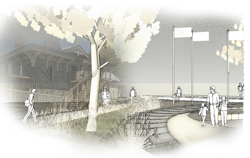 Illustrative drawing of Memorial Park concept