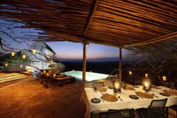 Jabali Ridge Dinner set up by the pool