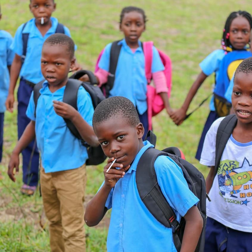 Inhaca Island schoolkid pose